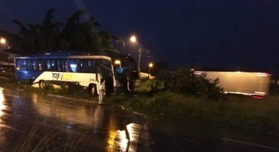 Motorista tenta desviar de cavalo e ônibus da Jeep colide em árvore