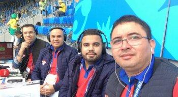 Aroldo Costa, Maciel Júnior, João Victor Amorim e Fabiano Lopes na transmissão de Brasil X Costa Rica