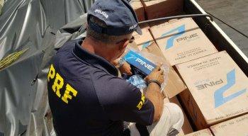 A mercadoria era de origem coreana e estava sendo transportada na carroceria de um caminhão