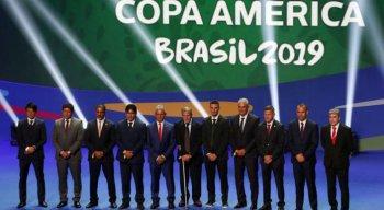 Treinadores das seleções no sorteio dos grupos da Copa América Brasil 2019, na Cidade das Artes, no Rio de Janeiro