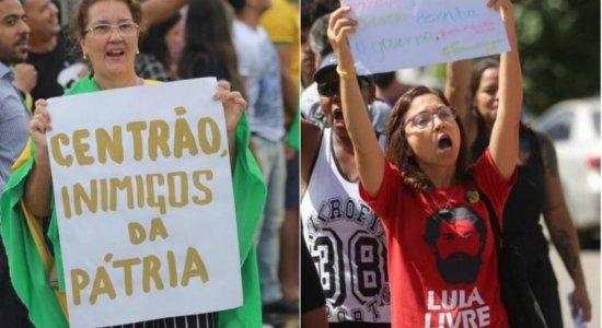 Atos pró e contra Bolsonaro acontecem durante visita ao Recife