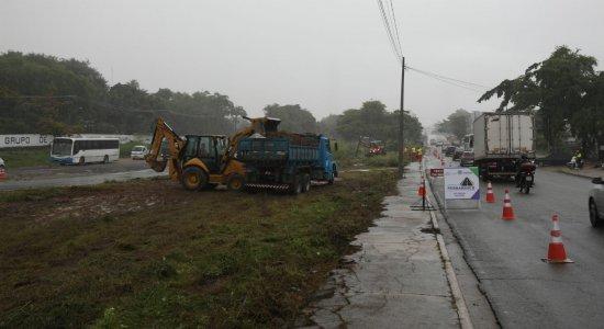 Chuva afeta início das obras de requalificação da PE-15 na RMR