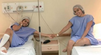 As irmãs Mariely e Mirella Santos fazem procedimento estético juntas