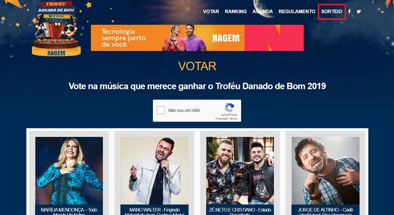 Internautas podem acessar o site do Troféu Danado de Bom para votar e participar do sorteio