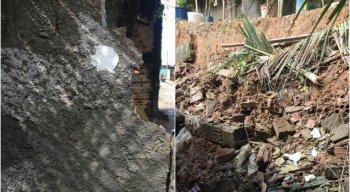 Muro caiu, mas ninguém ficou ferido