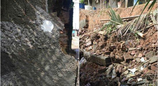 Em Jaboatão dos Guararapes, chuva forte derruba muro de casa