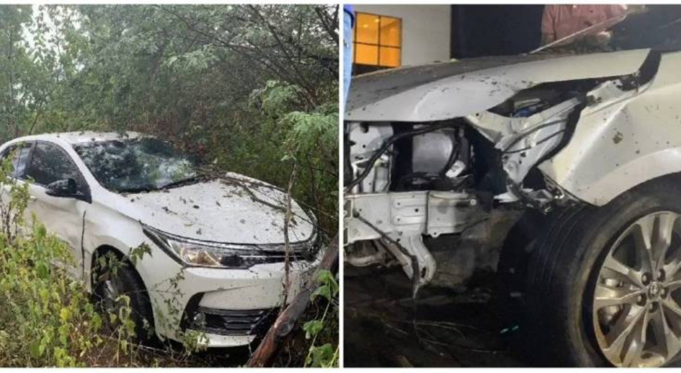 Carro do cantor Batista Lima após o acidente