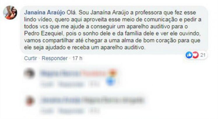 Janaína Araújo aproveitou a repercussão das imagens para pedir ajuda para a compra de um aparelho auditivo