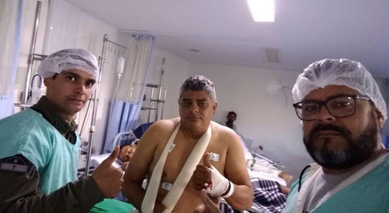Sargento Moacir Pereira, 47 anos, está na sala de recuperação do HRA, em Caruaru