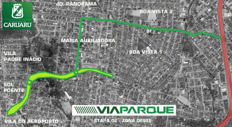 A segunda etapa compreende a intersecção com a BR-104 até o bairro Vila do Aeroporto
