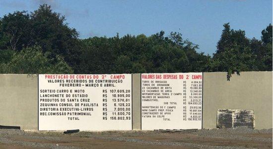 Santa Cruz expõe contas do segundo campo do CT em pintura no muro