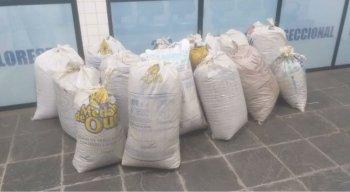 Os sacos de drogas foram encontrados em uma propriedade na caatinga do local