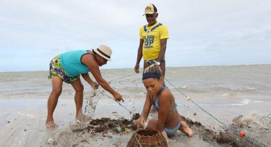 Rivânia com os avós catando marisco no mar