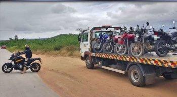 A maior parte dos veículos apreendidos na fiscalização eram motos do tipo cinquentinha