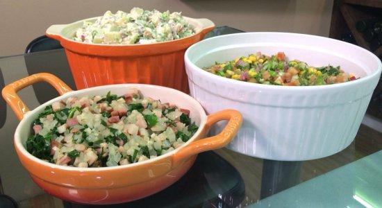 Que tal preparar Salada de Batata, Couve à Mineira e Vinagrete?