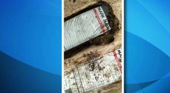 A embalagem é a mesma dos equipamentos de proteção individual que foram distribuídos para os voluntários na praia do Paiva