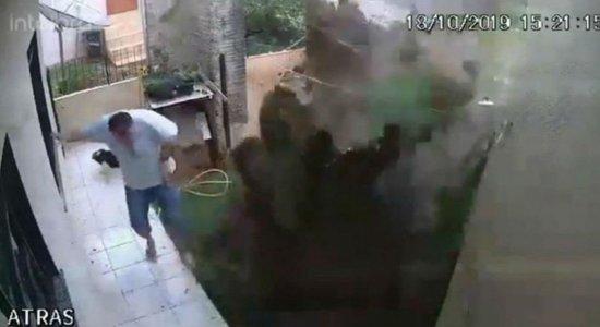 Vídeo: homem explode quintal da própria casa ao tentar matar baratas