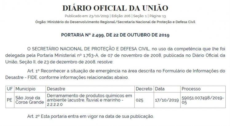 Portaria foi publicada no Diário Oficial da União