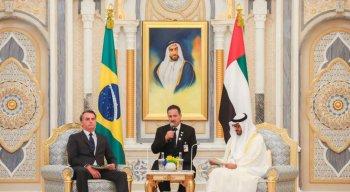 Presidente Jair Bolsonaro se encontra com xeique Mohamed bin Zayed Al Nahyan, Príncipe Herdeiro de Abu Dhabi, durante reunião ampliada.