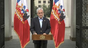 O presidente chileno, Sebastián Piñera, em pronunciamento oficial no dia 26/10/2019, em meio a protestos no seu país,