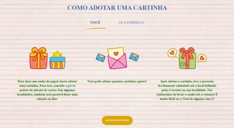 O blog da campanha traz informações para adotar a carta das crianças