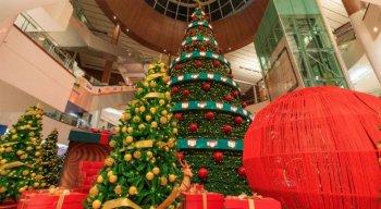 A árvore de 21 metros com luzes em Led, cores e música já está erguida no mall.
