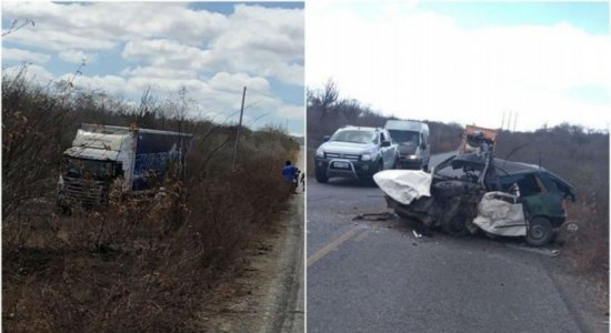 Homem morre após colisão entre carro e caminhão da banda Cavaleiros do Forró