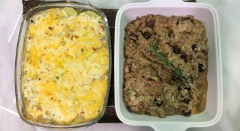 Carne em Fatias ao Molho com Batatas Gratinadas