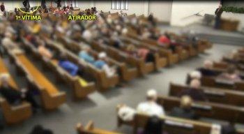 As imagens mostram o momento dos tiros dentro da igreja no Estados Unidos