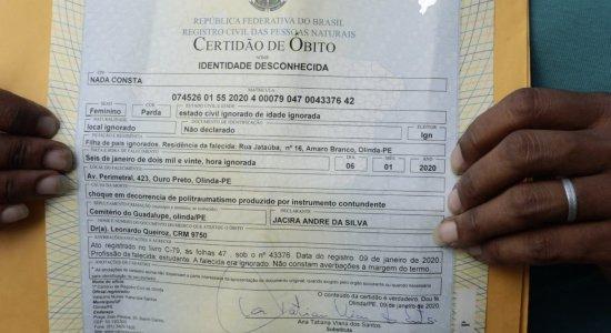 Menina atropelada por caminhão em Olinda é enterrada como ''desconhecida''
