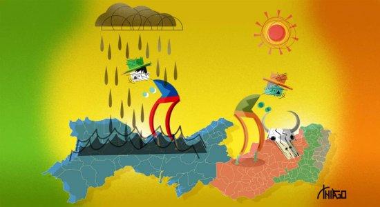 Pernambuco sofre com a seca e alerta de fortes chuvas em diferentes regiões