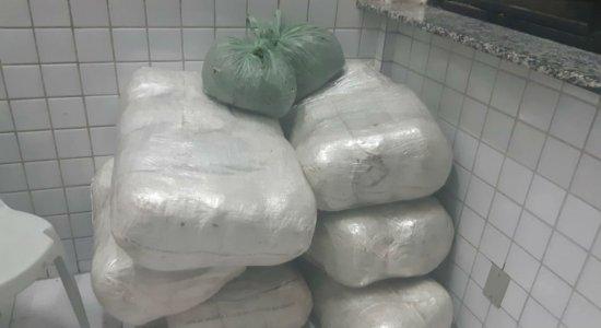 Vários sacos de maconha foram apreendidos pela PRF