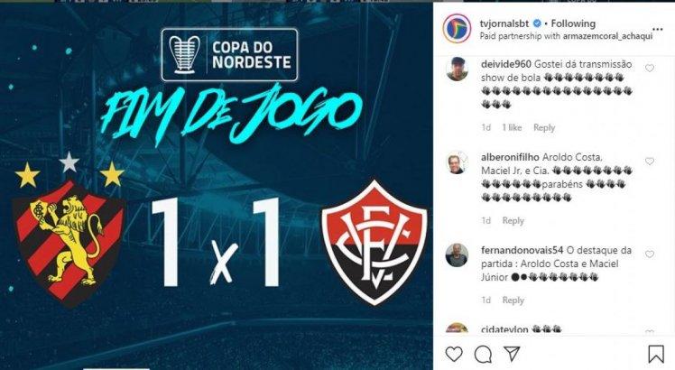 Público elogia transmissão da Copa do Nordeste 2020 na TV Jornal