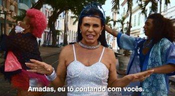 Na vídeo-campanha, Gretchen aparece em frente a paisagens conhecidas do Bairro do Recife - Marco Zero, Rua do Bonfim, Cais do Sertão e Paço do Frevo