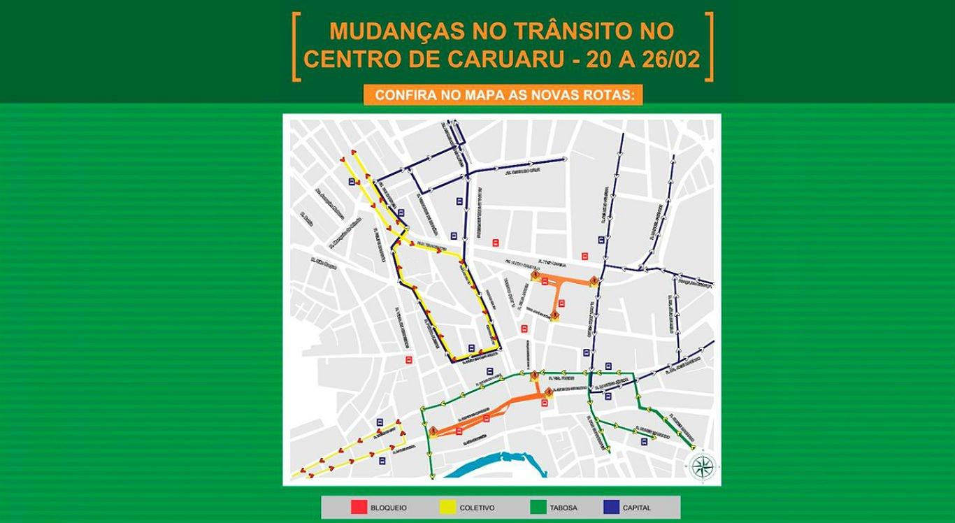 Ruas do centro de Caruaru terão trânsito alterado durante o Carnaval