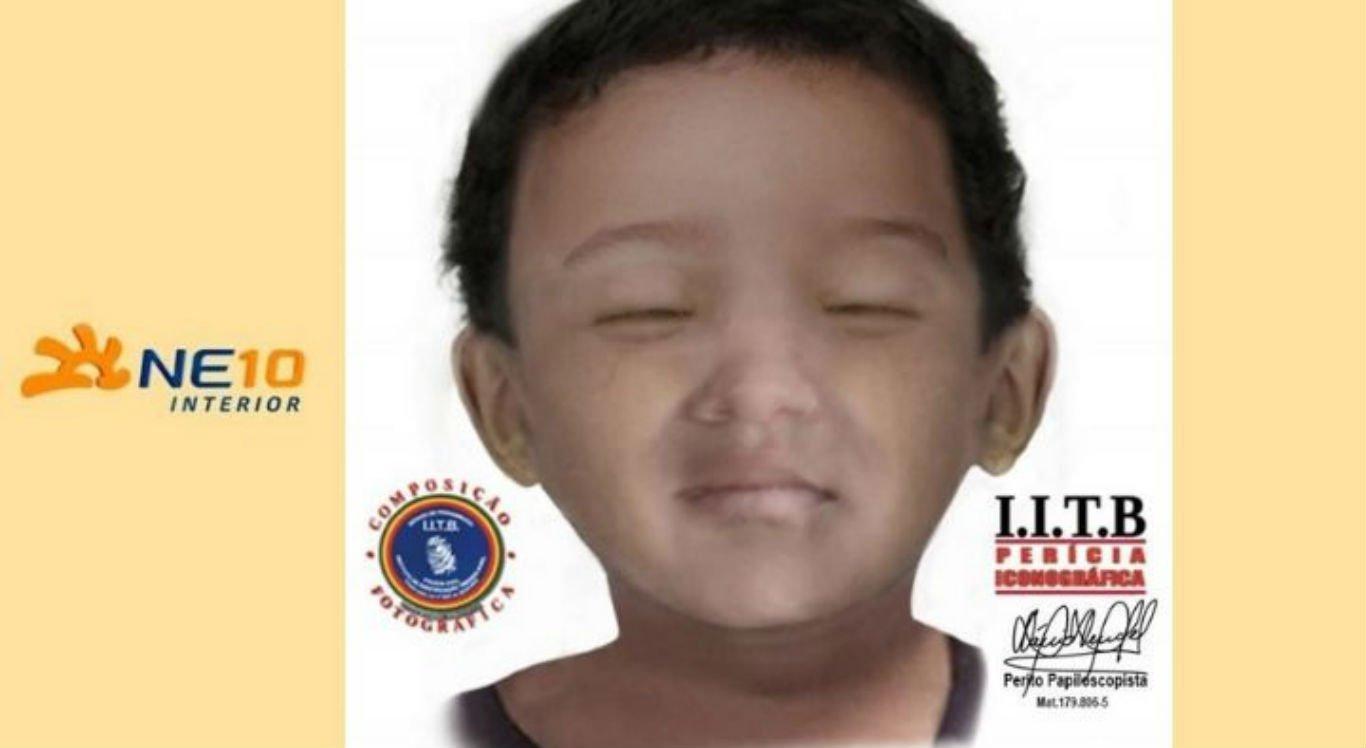 Imagem da reconstituição do rosto do menino foi divulgada
