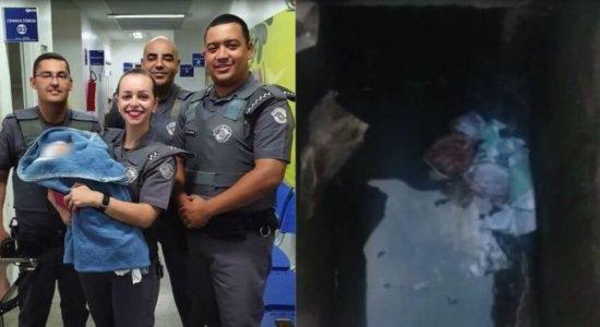 Bebê é resgatada de dentro de bueiro por policiais militares em São Paulo