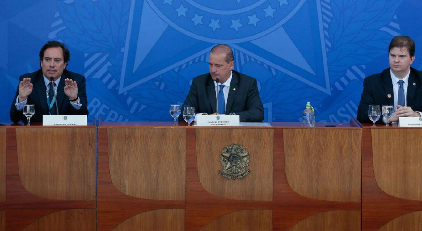 Presidente da Caixa, Pedro Guimarães, ministro da Cidadania, Onyx Lorenzoni, presidente do DataPrev, Gustavo Canuto