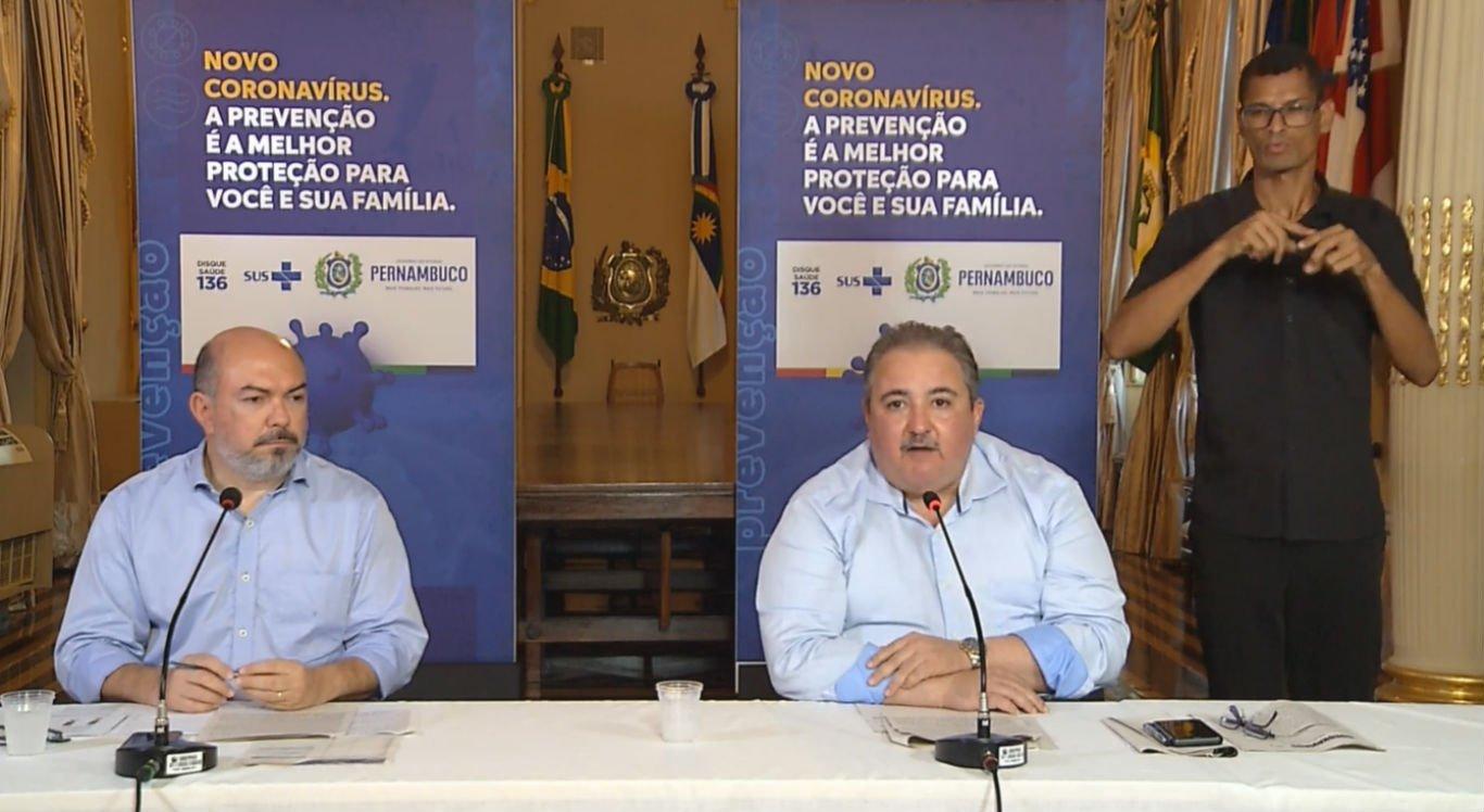 Coletiva de imprensa do Governo de Pernambuco nesta segunda-feira