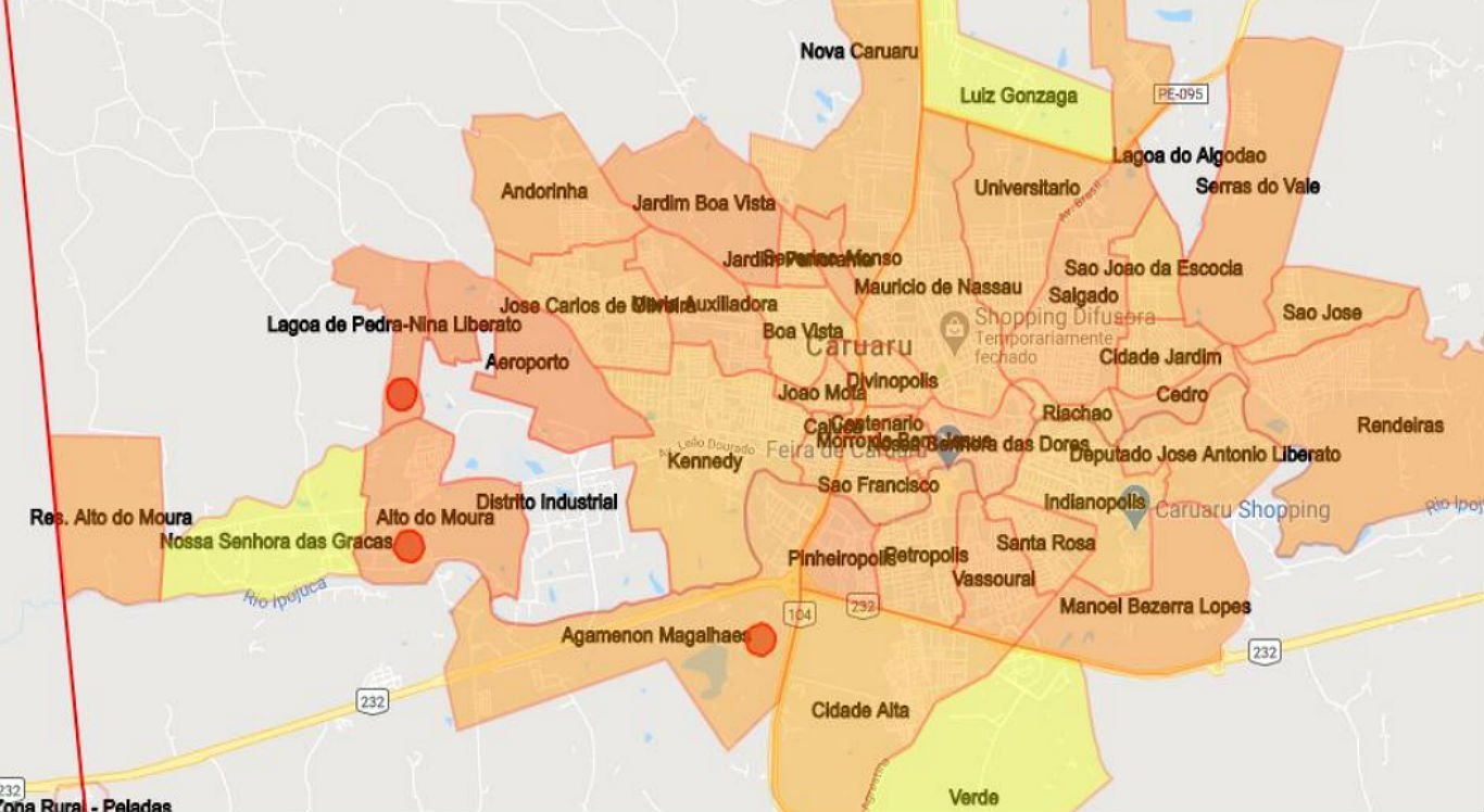 Quanto mais vermelha a área, menos as pessoas estão isoladas