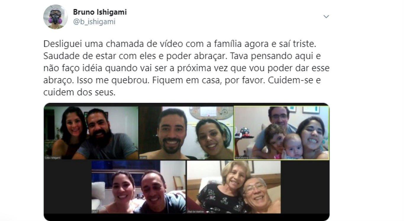 Infectologista fez chamada de vídeo com a própria família