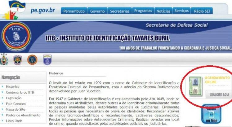 O agendamento online para retirar a carteira de identidade já está disponível no site do Instituro Tavares Buril (IITB)