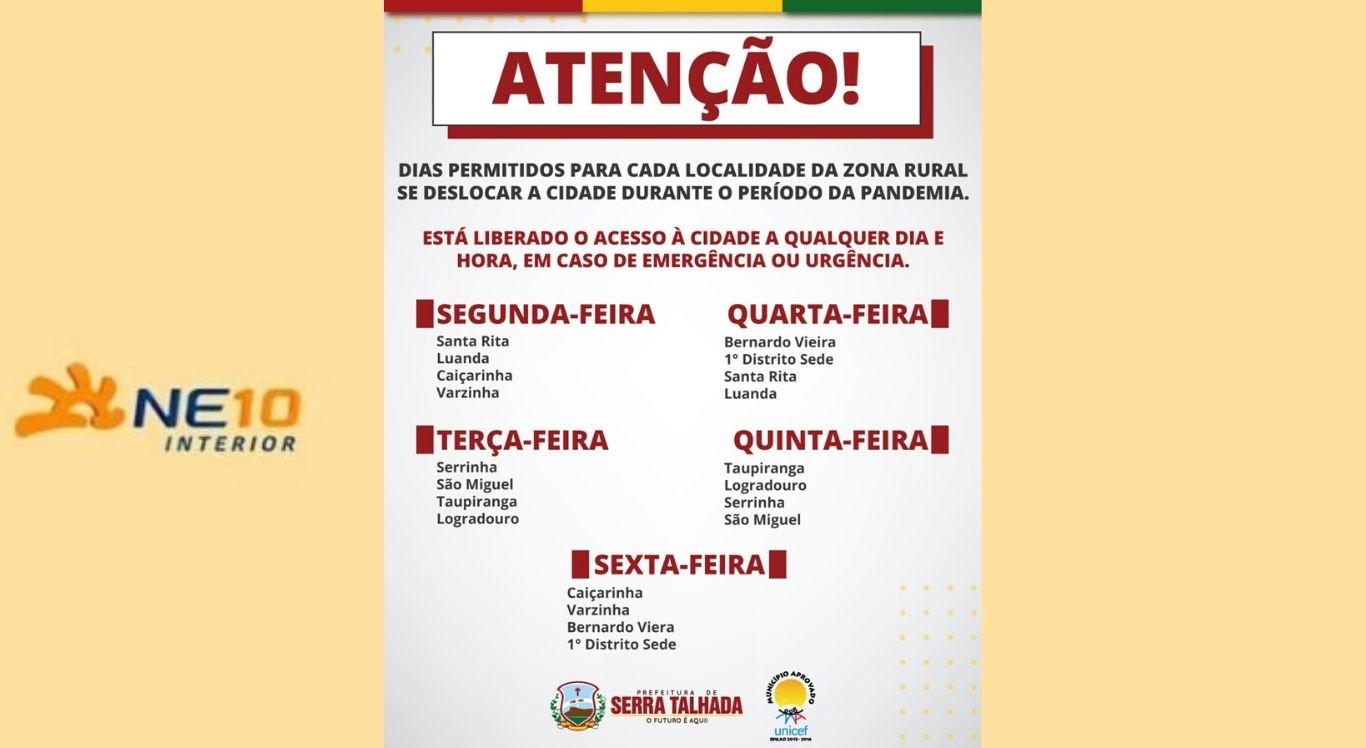 Confira o calendário de circulação na sede do município