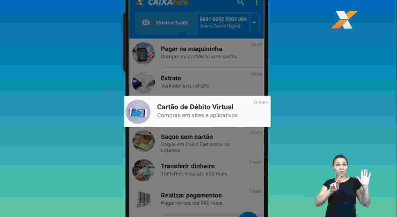Cartão de Débito Virtual no menu do Caixa Tem