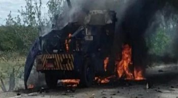 O carro-forte foi explodido pelos bandidos, mas ninguém ficou ferido, de acordo com a Polícia Militar
