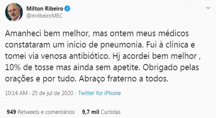 Post no Twitter do ministro da educação Milton Ribeiro