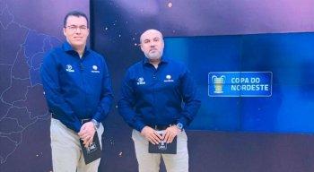 Aroldo Costa e Maciel Junior (direita) também transmitem a Copa do Nordeste na TV Jornal.