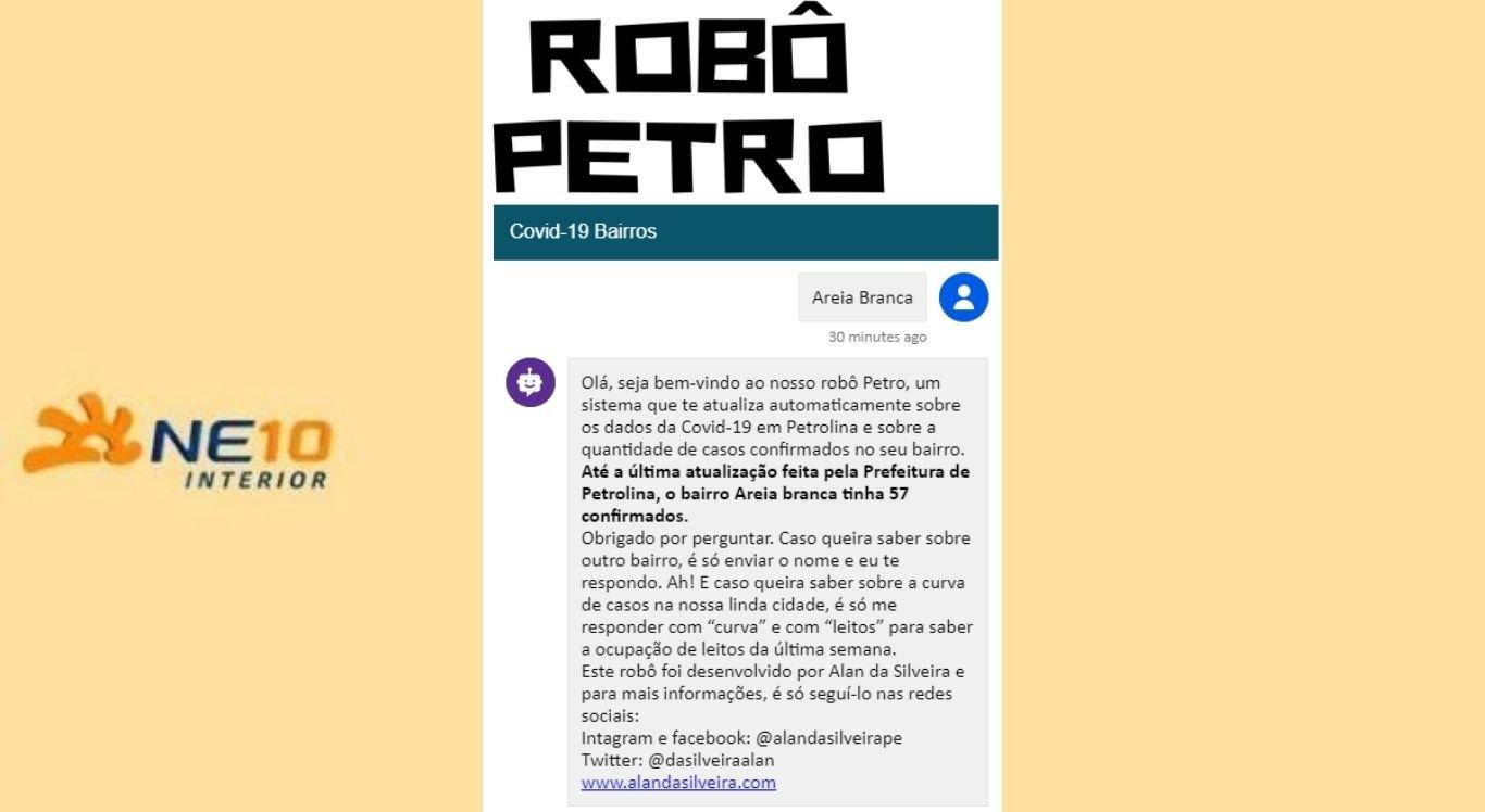 Robô Petro informa sobre os casos de covid-19 nos bairros de Petrolina