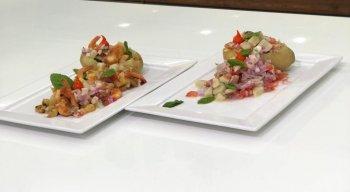 Prático e rápido: vinagrete de batata com camarões salteados