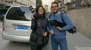 Repórter cinematográfica, Luisi Marques, e o apresentador da TV Jornal, Leandro Oliveira.